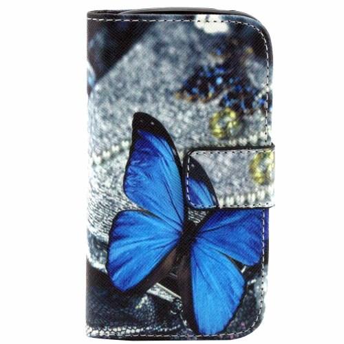 Samsung Galaxy S3 Mini Leder Tasche Portemonnaie Blauer Schmetterling