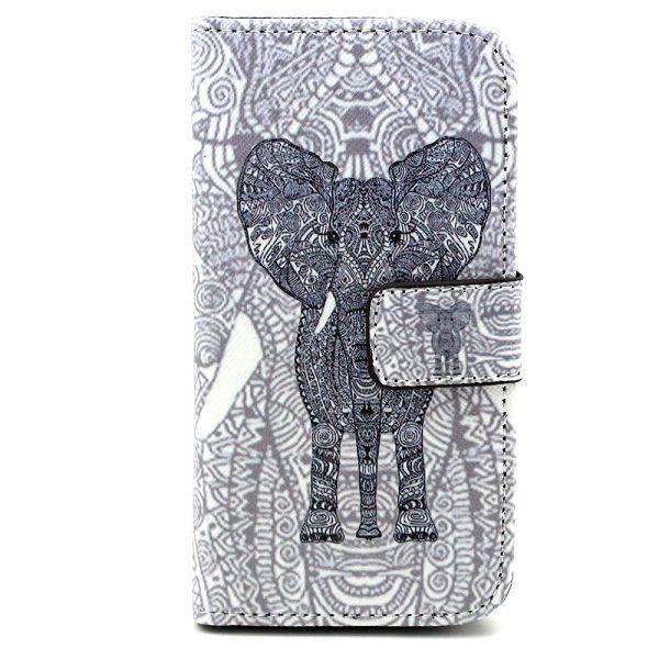Samsung Galaxy S5 Mini Leder Tasche Portemonnaie Elefant - Blau