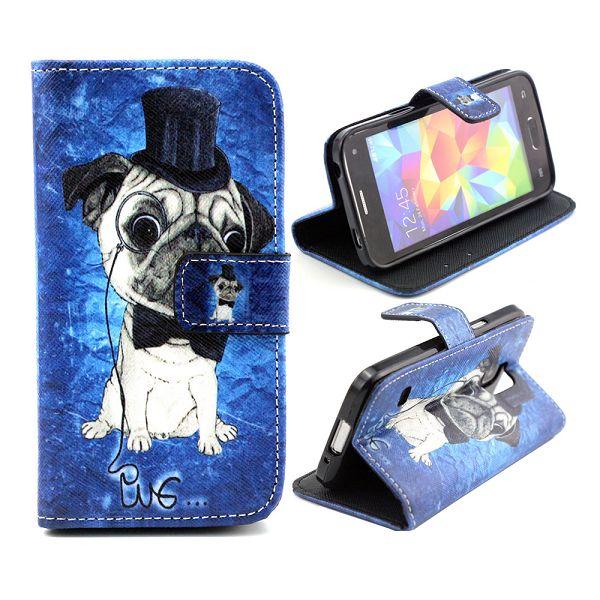 Samsung Galaxy S5 Mini Leder Tasche Portemonnaie Mops mit Zylinder - Blau