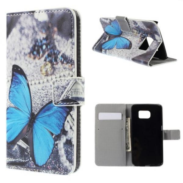 Samsung Galaxy S6 Edge Leder Tasche Portemonnaie Blauer Schmetterling