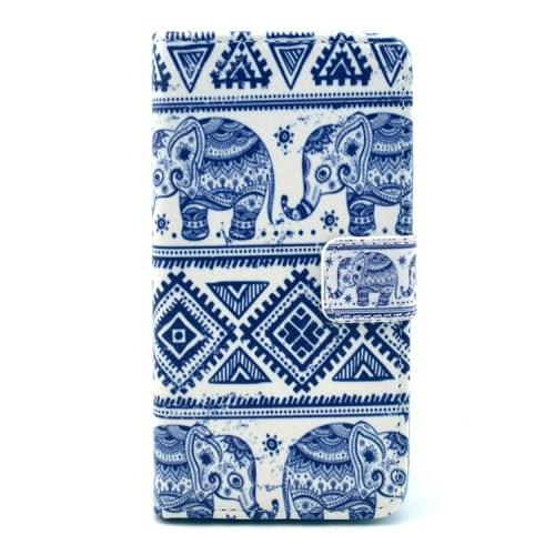 Sony Xperia Z1 Compact Leder Tasche Portemonnaie Elefanten Azteken Look - Weiss / Blau