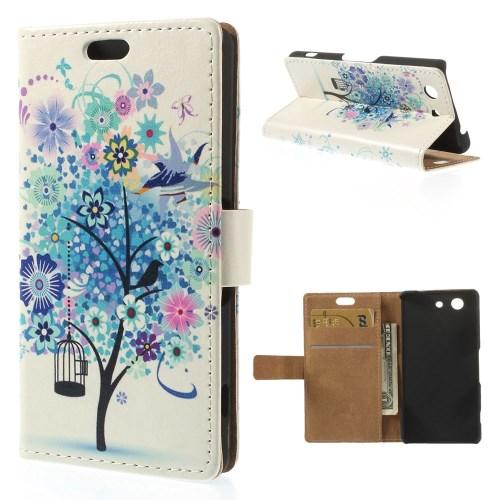 Sony Xperia Z3 Compact Leder Tasche Portemonnaie Blauer Baum - Weiss