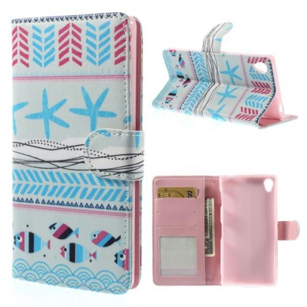 Sony Xperia Z3 Leder Tasche Portemonnaie Fisch Seestern Azteken Look - Blau / Rosa
