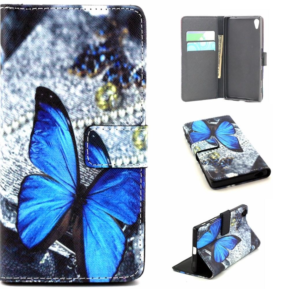 Sony Xperia Z5 Leder Tasche Portemonnaie - Blauer Schmetterling