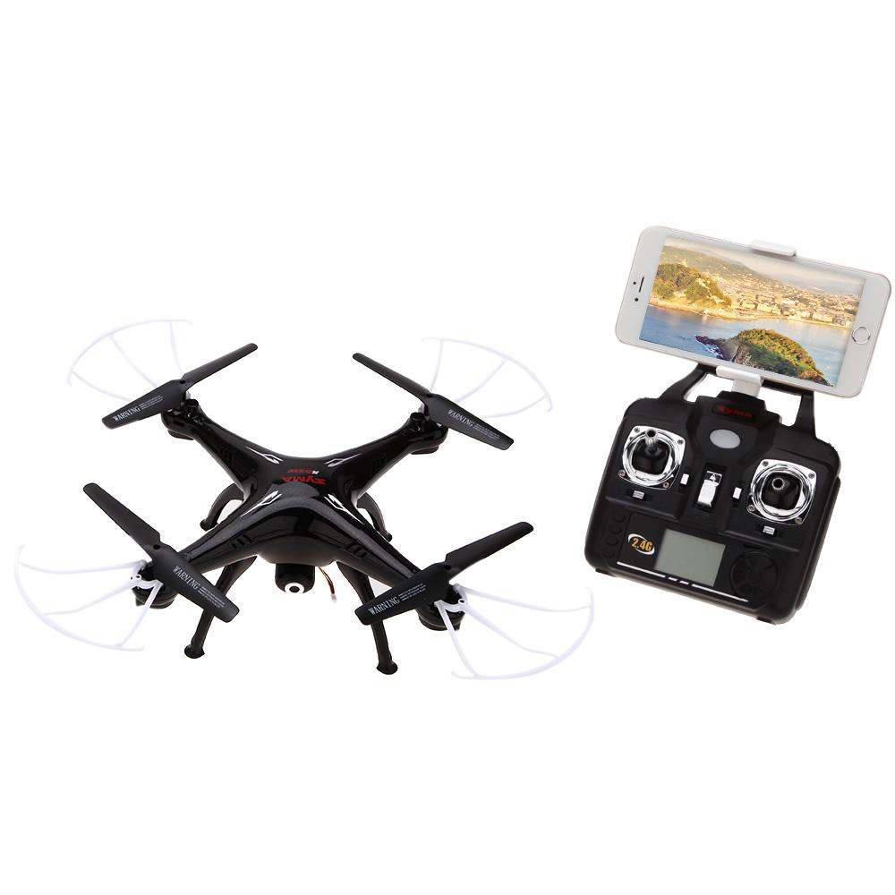 Syma - 2.4GHz X5SW WiFi Quadrocopter Drohne FPV Video Live-Übertragung + Fernbedienung (iOS/Android) - Schwarz