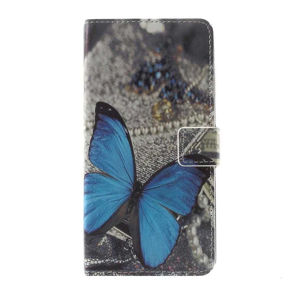 Sony Xperia XZ Premium Leder Tasche Portemonnaie Blauer Schmetterling